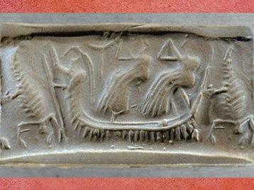 D'après un Dieu-Bateau, charrue et scorpions, évocation du monde chtonien, sceau, vers 2500 avjc, Mésopotamie. (Marsailly/Blogostelle)