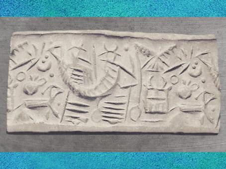 D'après un Dieu-bateau et oiseau céleste, empreinte de sceau, vers 2500-2400 avjc, Mari, actuelle Syrie, Mésopotamie. (Marsailly/Blogostelle)