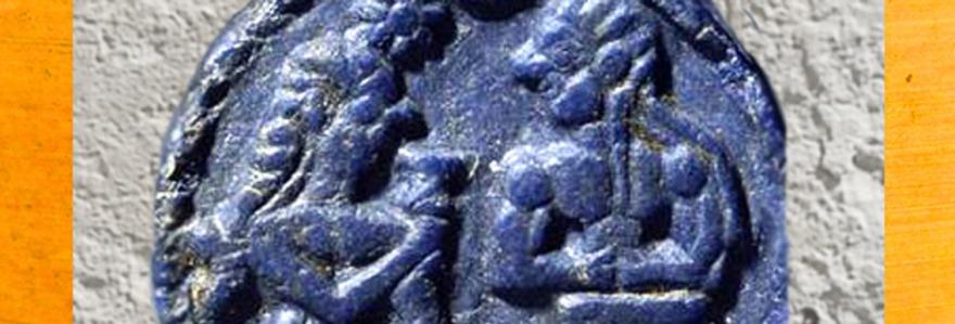 D'après un jeton en lapis-lazuli, élamite, ouverture, IIIe dynastie d'Ur. (Marsailly/Blogostelle