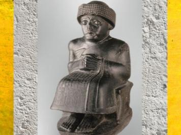 D'après Gudea, prince de Lagash, statue assise dédiée au dieu Ningishzida, vers 2120 avjc, époque néo-sumérienne, antique Girsu, Tello, Irak actuel, Mésopotamie. (Marsailly/Blogostelle)