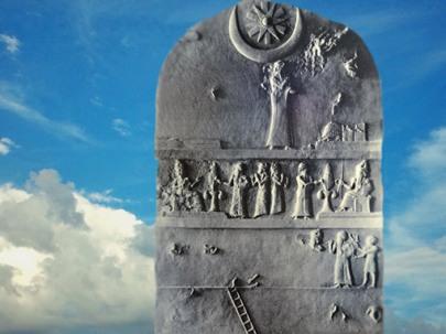 D'après une stèle du roi bâtisseur Ur-Nammu et le dieu Lune Nanna (Sîn), vers 2100 avjc, Ur, actuel Irak, Mésopotamie. (Marsailly/Blogostelle)