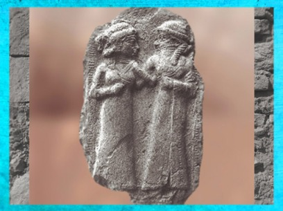 D'après le thème du Mariage Sacré, la déesse Innana (Ishtar) et Dumuzi, relief sumérien. (Marsailly/Blogostelle)
