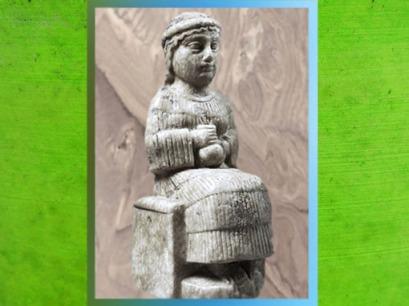 D'après une statuette d'orante porteuse de vase, vers 2150-2000 avjc, époque néo-sumérienne, Mésopotamie. (Marsailly/Blogostelle)