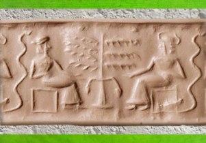 D'après une adoratrice et son dieu auprès de l'Arbre de Sacré, empreinte de sceau (dit d'Adam et Ève au XIXe siècle), vers 2200 – 2100 avjc, époque néo-sumérienne, Mésopotamie. (Marsailly/Blogostelle)
