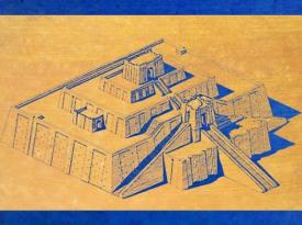 D'après un dessin-reconstitution de la ziggurat d'Ur, érigée par Ur-Nammu, vers 2100 avjc,Troisième dynastie d'Ur, actuel Irak, Mésopotamie. (Marsailly/Blogostelle)