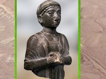 D'après la statuette dite Femme à l'écharpe, vers 2120 avjc, époque néo-sumérienne, antique Girsu, actuel Tello (Irak), Mésopotamie. (Marsailly/Blogostelle)