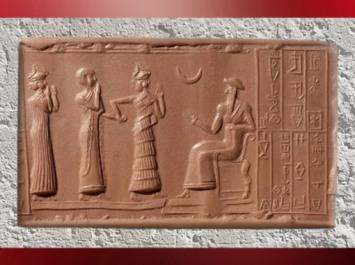 D'après une scène de présentation du vassal Hashhamer à Ur-Nammu divinisé, glyptique, vers 2100 avjc,Troisième dynastie d'Ur, actuel Irak, Mésopotamie. (Marsailly/Blogostelle)