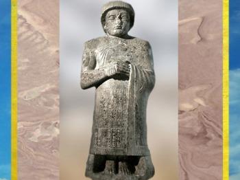 D'après la statue du prince Ur-Ningirsu, fils de Gudea, IIe dynastie de Lagash, vers 2110 avjc, époque néo-sumérienne, Mésopotamie. (Marsailly/Blogostelle)