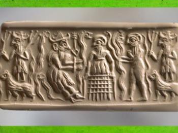 D'après un dieu de la végétation, comparable à Dumuzi, empreinte de sceau cylindre, vers 2500 avjc, période des dynastie archaïques, Mésopotamie. (Marsailly/Blogostelle)