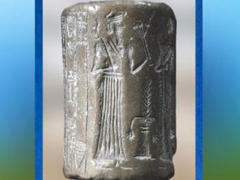 D'après le sceau du roi Shulgi, autel et déité de la végétation, vers 2075 avjc, Troisième dynastie d'Ur, Mésopotamie. (Marsailly/Blogostelle)