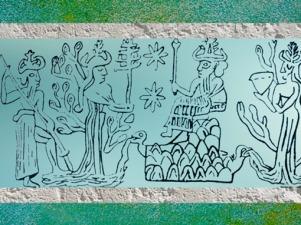 D'après le dieu des Eaux trônant Enki-Ea, la Terre Ningursag, Nammu déesse-mère, et Enlil, père d'Ea, dessin d'une empreinte de sceau, Mari, Syrie. (Marsailly/Blogostelle)