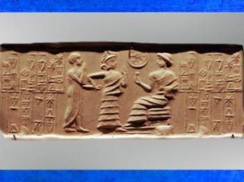 D'après une scène de présentation à un souverain divinisé et inscription, empreinte de sceau, vers 2100-2000 avjc, époque néo-sumérienne, Mésopotamie. (Marsailly/Blogostelle)