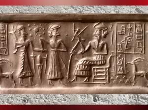 D'après une scène de présentation à un dieu trônant, dédicace et symboles célestes, sceau dit VA243, Uruk, vers 2300 avjc, période d'Agadé, Mésopotamie. (Marsailly/Blogostelle)