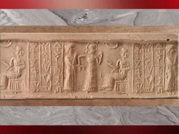 D'après une scène de présentation d'un fidèle à la déesse sur son trône, IIe millénaire avjc, fin de l'époque néo-sumérienne, Mésopotamie. (Marsailly/Blogostelle)