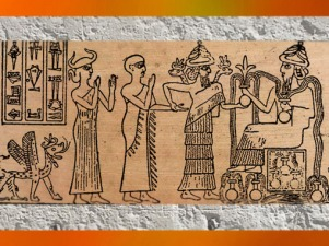 D'après Gudea présenté par Ningishzida au dieu Ningirsu, empreinte de sceau, vers 2130-2100 avjc, époque néo-sumérienne, Mésopotamie. (Marsailly/Blogostelle)