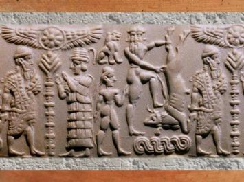 D'après le sceau dit de Gilgamesh, le héros d'Uruk dompte le Taureau d'Ishtar, XVIIe siècle avjc, Assyrie. (Marsailly/Blogostelle)