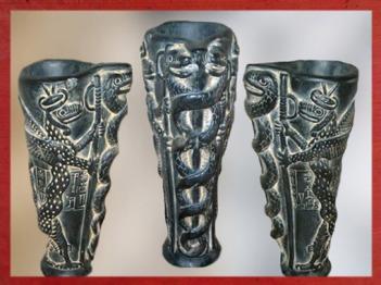 D'après un vase à libation, dédicace de Gudea à Ningishzida, stéatite, vers 2120 avjc, époque néo-sumérienne, antique Girsu, actuel Tello, Irak actuel, Mésopotamie. (Marsailly/Blogostelle)