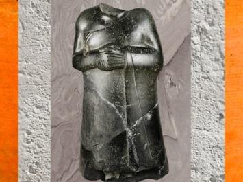 D'après une statue (acéphale) du souverain Ur-Bau de Lagash, 70 centimètres, vers 2130 avjc, deuxième dynastie de Lagash, époque néo-sumérienne, Mésopotamie. (Marsailly/Blogostelle)