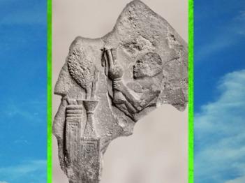 D'après une scène de libation, autel et arbre sacré, fragment de bulle et empreinte de sceau, époque néo-sumérienne de Gudea, Lagash, Mésopotamie. (Marsailly/Blogostelle)