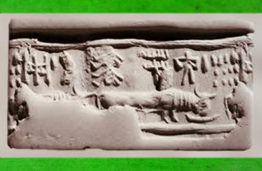 D'après une empreinte de sceau provenant de la Vallée de l'Indus, buffle et inscription, vers 2600-1700 avjc, Suse, en pays élamite, actuel Iran. (Marsailly/Blogostelle)