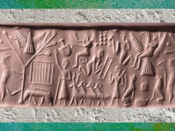 D'après une possible évocation de la légende du roi Etana de Kish, empreinte de sceau, vers 2400-2200 avjc, période d'Agadé, Mésopotamie. (Marsailly/Blogostelle)