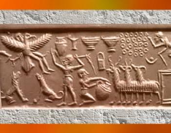 D'après une possible évocation de l'ascension du roi Etana de Kish sur l'homme-oiseau (l'aigle), empreinte de sceau, vers 2400-2200 avjc, période d'Agadé, Mésopotamie. (Marsailly/Blogostelle)