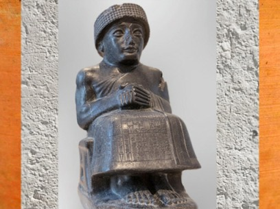 D'après Gudea, prince de Lagash, statue assise dédiée au dieu Ningishzida, vers 2120 avjc, époque néo-sumérienne, Tello, antique Girsu, Tello, Irak actuel, Mésopotamie. (Marsailly/Blogostelle)