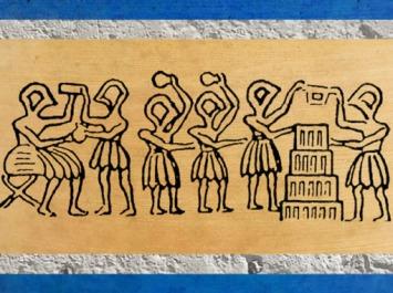 D'après cérémoniel de la première brique et élévation du temple, sceau, vers 2600-2300 avjc, période des dynasties archaïques, Mésopotamie. (Marsailly/Blogostelle)