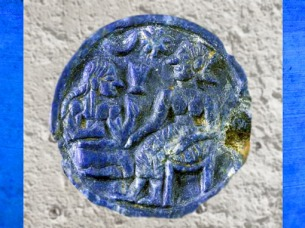 D'après un petit disque en lapis-lazuli, scènes galantes, vers 2500-2000 avjc, période trans-élamite, Iran du Sud-Est. (Marsailly/Blogostelle)