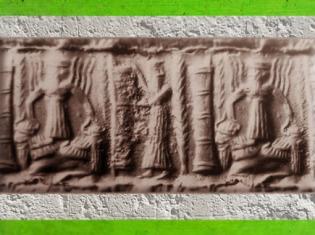 D'après des taureaux à tête humaine (androcéphales), empreinte de sceau, période d'Agadé, dynastie d'Akkad, vers 2350-2200 avjc, Mésopotamie. (Marsailly/Blogostelle)