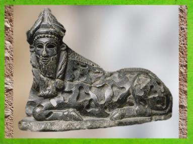 D'après une statuette de taureau androcéphale, stéatite, vers 2150-2100 avjc, époque néo-sumérienne, Mésopotamie. (Marsailly/Blogostelle)