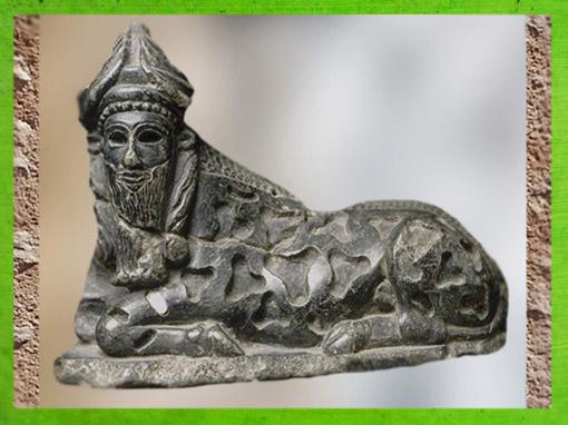 D'après une statuette de taureau androcéphale, vers 2150-2100 avjc, néo-sumer, stéatite. (Marsailly/Blogostelle)