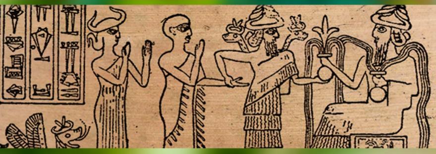 D'après Gudea, son dieu Ningishzida, et Ningirsu, sceau, vers 2130-2100 avjc, néo-sumer. (Marsailly/Blogostelle)