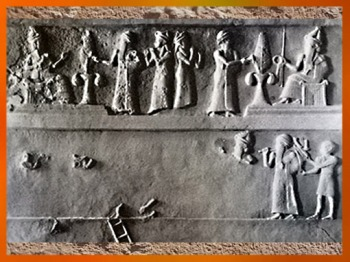 D'après la stèle du roi bâtisseur Ur-Nammu, détail, vers 2100 avjc, Ur, actuel Irak, Mésopotamie. (Marsailly/Blogostelle)