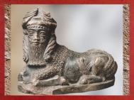 D'après une statuette de taureau à tête humaine, vers 2150-2100 avjc, époque néo-sumérienne, Mésopotamie. (Marsailly/Blogostelle)