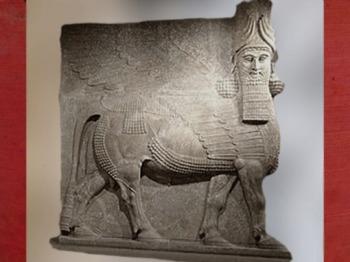 D'après un Taureau colossal, Lamassu, palais royal de Khorsabad, époque néo-assyrienne, VIIe - VIe avjc, Assyrie. (Marsailly/Blogostelle)