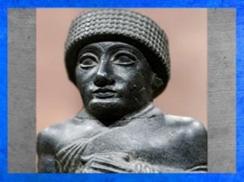 D'après le visage royal de Gudea, détail, statue du prince de Lagash, vers 2100 avjc, époque néo-sumérienne, Mésopotamie. (Marsailly/Blogostelle)