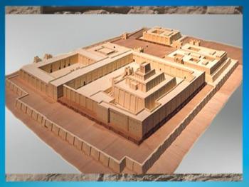 D'après l'enceinte sacrée et la ziggurat de la cité d'Ur, vers 2100 avjc,Troisième dynastie d'Ur, actuel Irak, Mésopotamie. (Marsailly/Blogostelle)