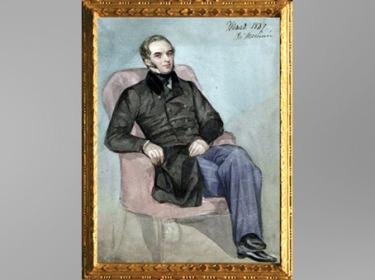 D'après Prosper Mérimée assis dans un fauteuil rose, de Cécile Delessert, 1847, aquarelle, XIXe siècle. (Marsailly/Blogostelle)