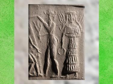 D'après la déesse aux Épis avec un anneau, détail, vers 2350 - 2200 avjc, période d'Agadé, Mésopotamie. (Marsailly/Blogostelle)