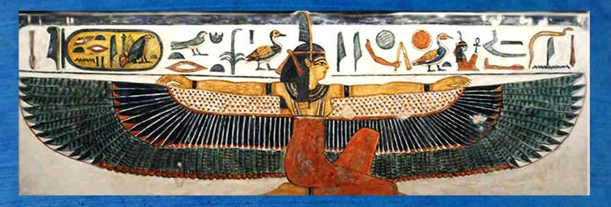 D'après la déesse Maât, tombe de Nefertari, ouverture Égypte ancienne. (Marsailly/Blogostelle)