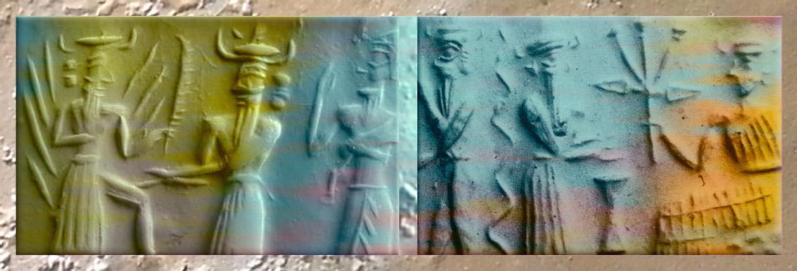 D'après le dieu-flammes et la déesse aux épis, période Akkad, ouverture Mésopotamie. (Marsailly/Blogostelle)