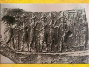 D'après leDieu-Soleil et duels de divinités,sceau de Eshpum, prince de Lagash, Suse,vers 2340 - 2200 avjc, période d'Agadé, Mésopotamie. (Marsailly/Blogostelle)