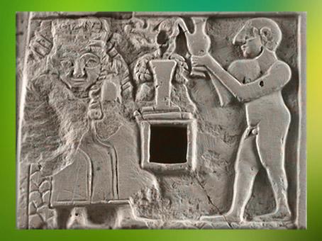 D'après une scène de Libation à la Déesse, relief votif, vers 2500 avjc, Girsu-Tello, Irak. (Marsailly/Blogostelle)