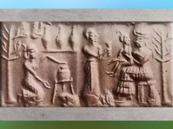 D'après la Déesse à l'Enfant et des orants, cylindre, deuxième moitié du IIIe millénaire avjc, Mésopotamie. (Marsailly/Blogostelle)