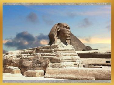 D'après le sphinx de Gizeh, près de la pyramide de Khépren, roi de la IVe dynastie sous l'Ancien Empire, Égypte ancienne. (Marsailly/Blogostelle)