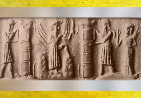 D'après le Dieu-flamme sortant de la montagne entre deux piliers, et orants, vers 2340 - 2200 avjc, période d'Agadé, Mésopotamie. (Marsailly/Blogostelle)