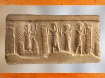 D'après des personnages qui mènent un orant auprès du dieu solaire Shamash sortant de sa montagne, vers 2340 - 2200 avjc, période d'Agadé, Mésopotamie. (Marsailly/Blogostelle)