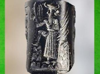 D'après le dieu Solaire qui franchit la montagne, sceau-cylindre, vers 2340 - 2200 avjc, période d'Agadé, Mésopotamie. (Marsailly/Blogostelle)