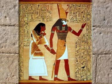 D'après Horus couronné du Pschent, premier pharaon mythique, papyrus d'Ani, XIXe dynastie, vers 1319 - 1196 avjc, Nouvel Empire, Égypte ancienne. (Marsailly/Blogostelle)